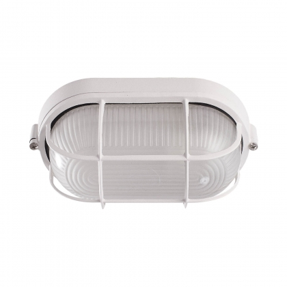 APLIQUE EXTERIOR ESTANCO OVAL REJILLA 60W BLANCO
