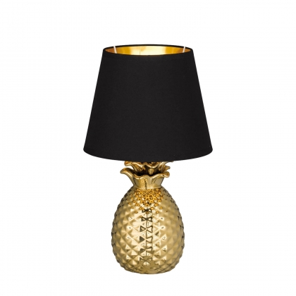 LAMPE DE TABLE ANANAS CÉRAMIQUE OR 35CM