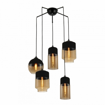 SUSPENSION 5 LUMIERES AILANN VINTAGE