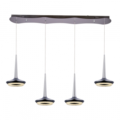 SUSPENSION LED 4 LUMIERES CHANTAL 36W CHROME